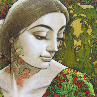 Radhika by Sukanta Das, Expressionism Painting, Mixed Media on Canvas, Green color