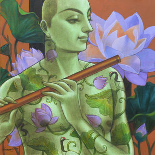 The Tune by Sukanta Das, Expressionism Painting, Mixed Media on Canvas, Green color