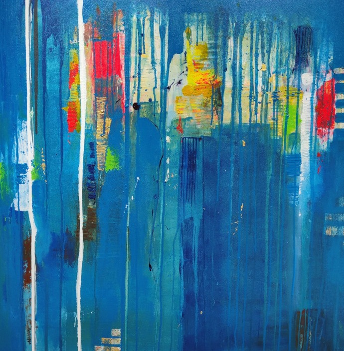 Flow of life NDV6 by Nandini, Abstract Painting, Acrylic on Canvas, Blue color