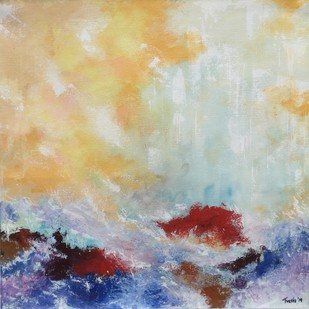 Crashing Waves by Tvesha Singh, Abstract Painting, Acrylic on Canvas, Beige color