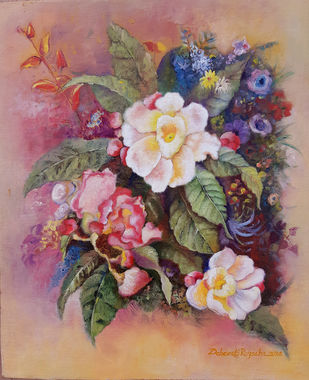 Tropical flowers by Debarati Roy Saha, Expressionism Painting, Oil on Canvas, Brown color