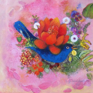 Red flower and the blue bird by Debarati Roy Saha, Expressionism Painting, Oil on Canvas, Pink color