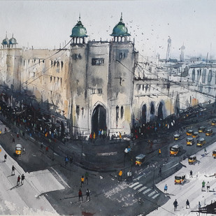 Hyderabad_building by Somnath Patra, Impressionism Painting, Watercolor on Paper, Gray color