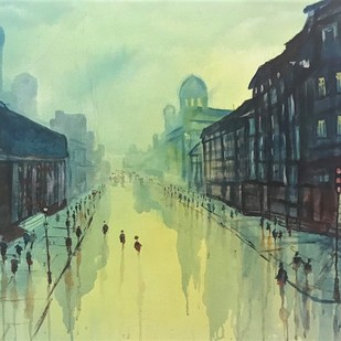 Parl street by Kanan Ananthasubraman, Impressionism Painting, Acrylic on Canvas, Green color