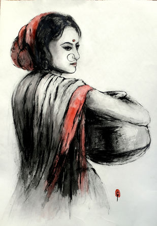 Indian lady 29 by MADURAI GANESH, Illustration Painting, Ink and brush on paper board, Gray color