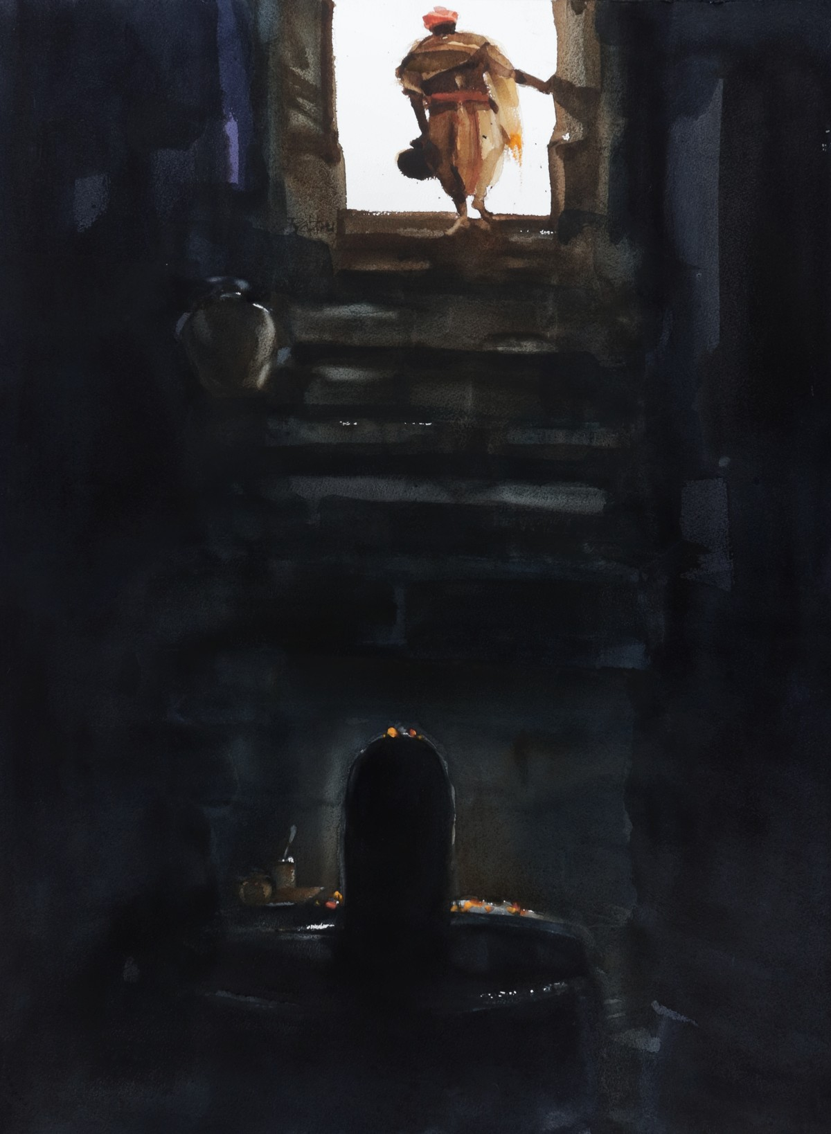 Offering to you that which is already yours by Prashant Prabhu, Expressionism Painting, Watercolor on Paper, Black color