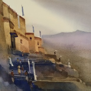 Your Grace-ful welcome 3 by Prashant Prabhu, Impressionism Painting, Watercolor on Paper, Brown color