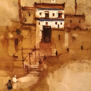 GoT to climb up to receive His grace by Prashant Prabhu, Impressionism Painting, Watercolor on Paper, Brown color