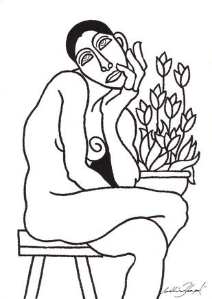 Untitled by Sudhir Bhagat, Illustration Drawing, Ink on Paper, Gray color