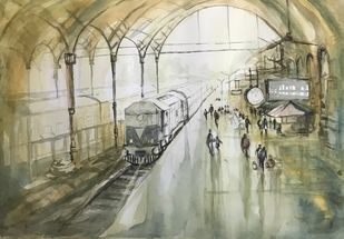 Egmore Station by Kanan Ananthasubraman, Impressionism Painting, Watercolor on Paper, Beige color