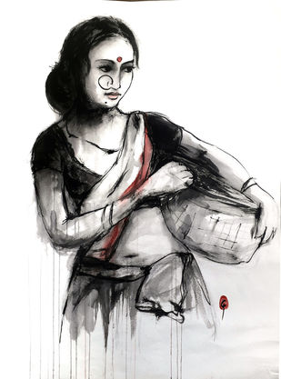 INDIAN LADY 30 by MADURAI GANESH, Illustration Painting, Ink and brush on paper board, Gray color