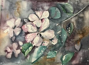 Blissful life by Nahid Aamina Sowkath, Impressionism Painting, Watercolor on Paper, Brown color