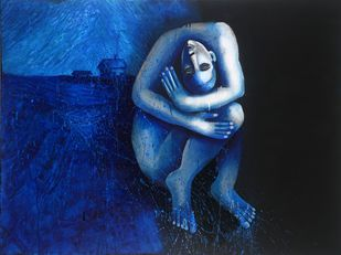Ocean Thoughts by Ritu Dhillon, Expressionism Painting, Mixed Media on Canvas, Blue color