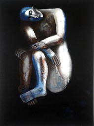 contemplation by Ritu Dhillon, Expressionism Painting, Mixed Media on Canvas, Black color