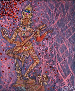 Ardhaneeshwara Digital Print by Anita Saran,Traditional