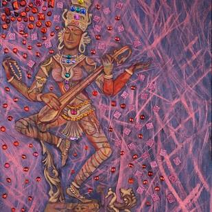 Ardhaneeshwara by Anita Saran, Traditional Painting, Mixed Media on Canvas, Purple color
