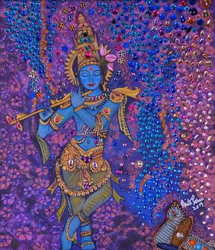 Krishna Digital Print by Anita Saran,Traditional