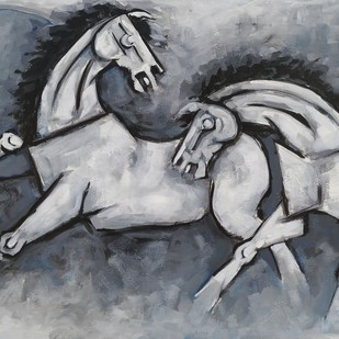 Two horses by Balbir Singh, Expressionism Painting, Acrylic on Board, Gray color