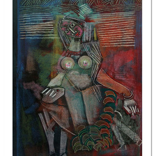 Untitled by A P S Easter Raj, Expressionism Painting, Mixed Media on Canvas, Gray color