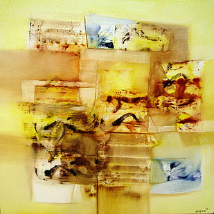 Untitled by Harendra Shah, Abstract Painting, Oil on Canvas, Beige color