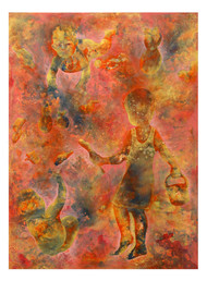 Untitled by Lakhan Singh Jat, Expressionism Painting, Acrylic on Canvas, Brown color