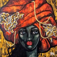 Girl in a red turban by Suruchi Jamkar, Expressionism Painting, Acrylic on Canvas, Brown color