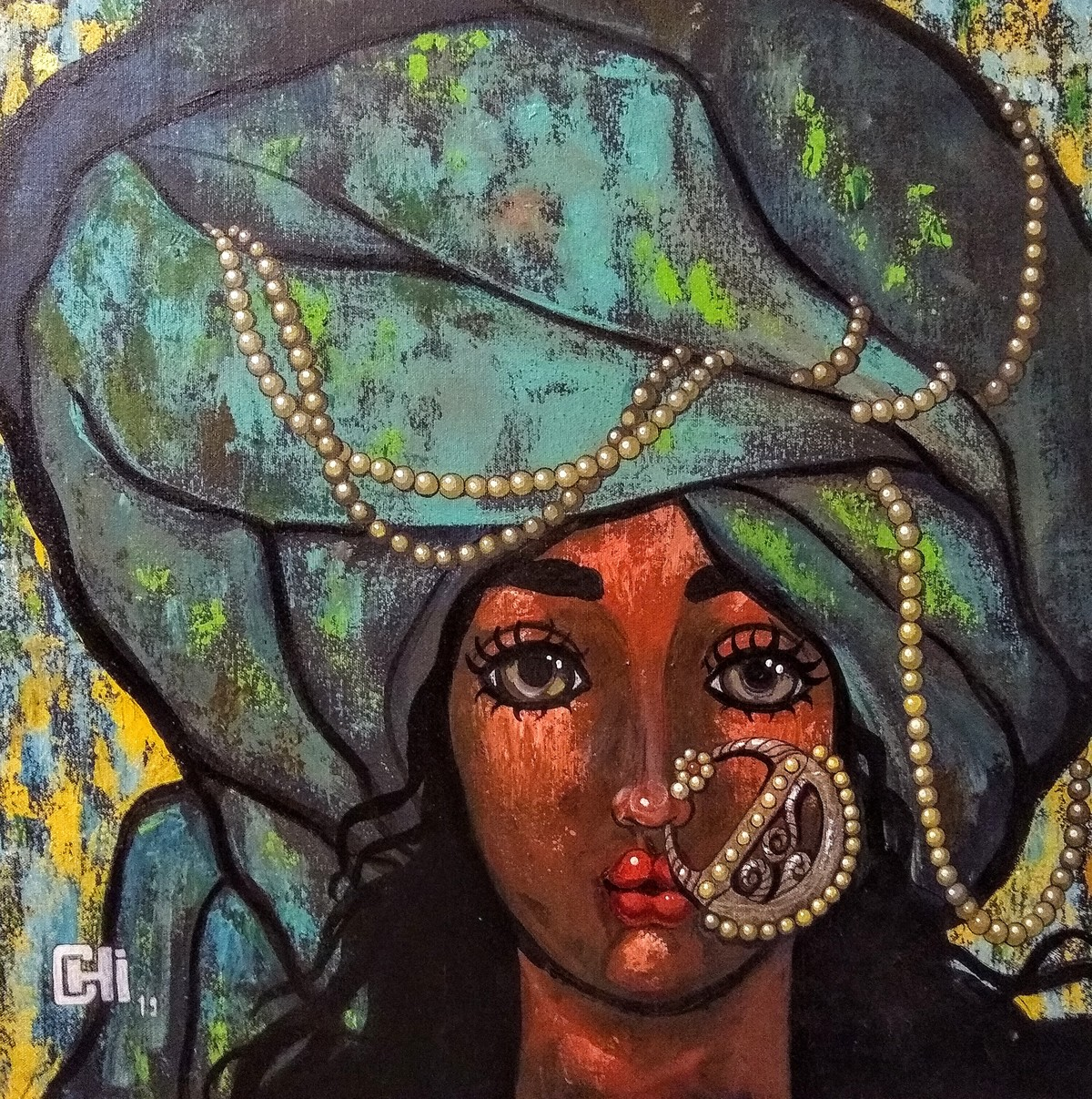Girl in a green turban by Suruchi Jamkar, Expressionism Painting, Acrylic on Canvas, Green color