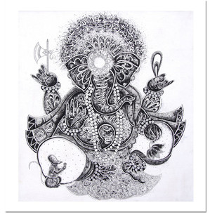 Ganesha by Vinay Trivedi, Illustration Painting, Mixed Media on Canvas, Gray color