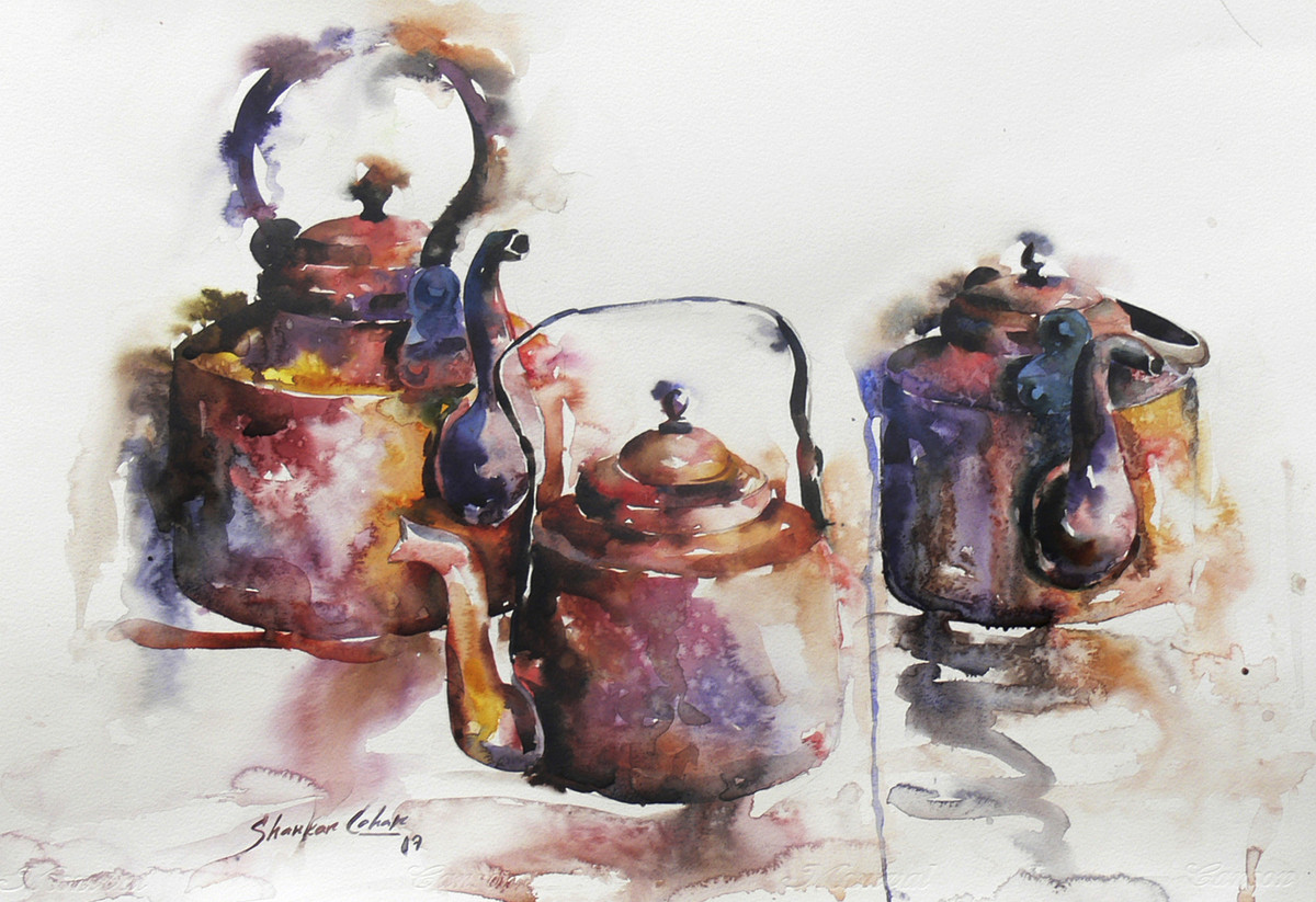 GOOD MORNING 01 by SHANKAR LOHAR, Impressionism Painting, Watercolor on Paper, Gray color