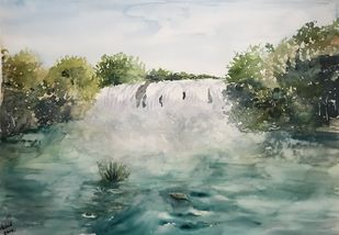 Waterfalls by Nahid Aamina Sowkath, Impressionism Painting, Watercolor on Paper, Green color