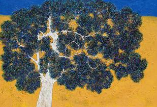 tree of life by Bhaskara Rao Botcha, Expressionism Painting, Acrylic on Canvas, Green color