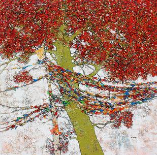 tree of life by Bhaskara Rao Botcha, Expressionism Painting, Acrylic on Canvas, Blue color