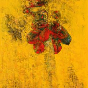 tree of life by Bhaskara Rao Botcha, Expressionism Painting, Acrylic on Canvas, Orange color