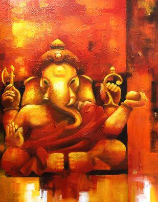 Vinayaka by Sanghamitra Roy Majumder, Traditional Painting, Acrylic on Canvas, Orange color
