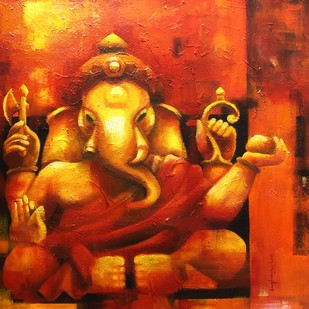 Vinayaka by Sanghamitra Roy Majumder, Traditional Painting, Acrylic on Canvas, Orange color