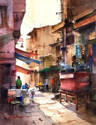 Morning street by Sanghamitra Roy Majumder, Impressionism Painting, Watercolor on Paper, Brown color