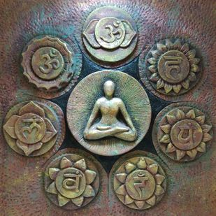 Body Chakras by Aastha Bairollia, Art Deco Sculpture | 3D, Stone, Brown color