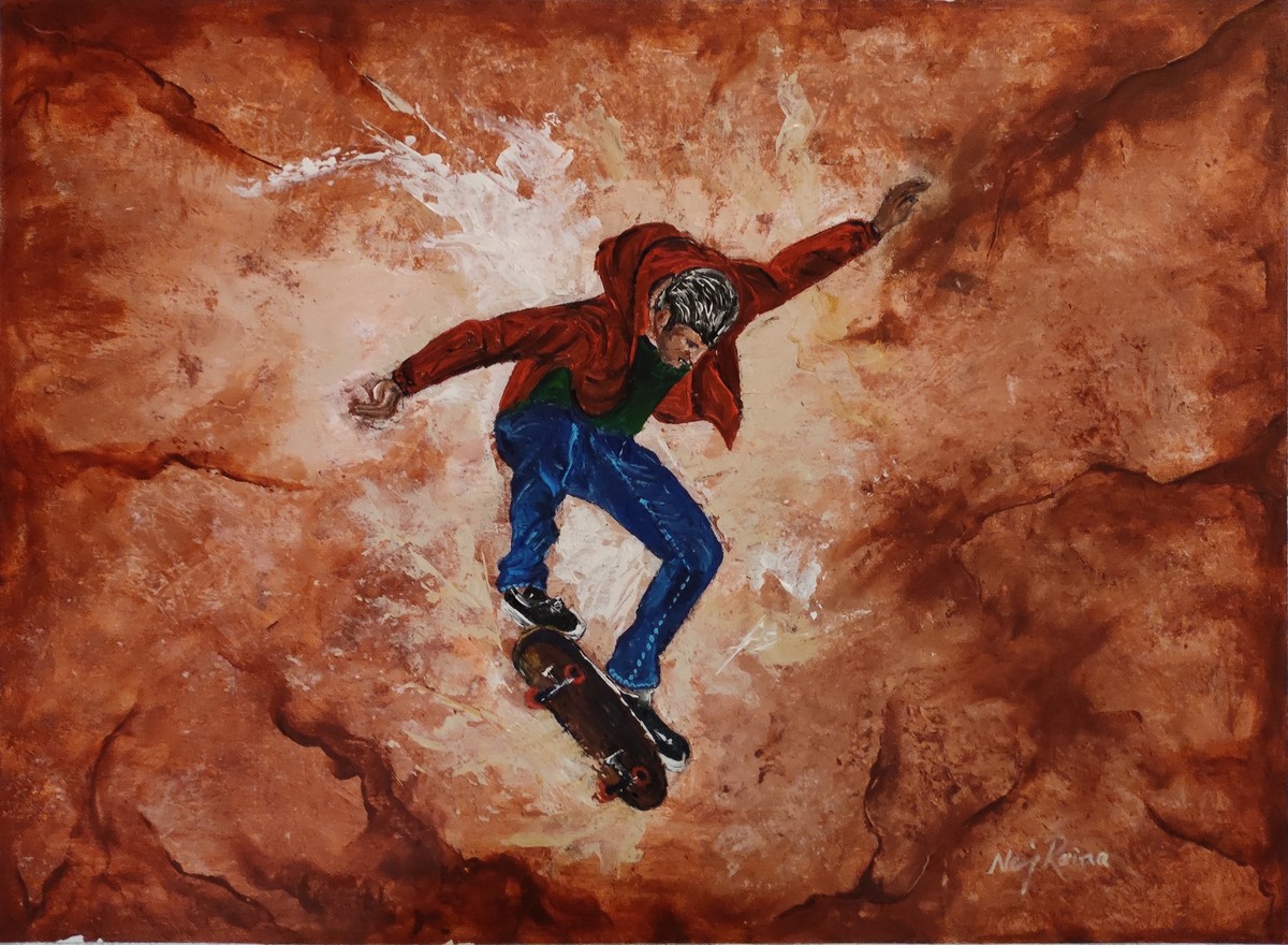 Rollicking Life-By Neeraj Raina by Neeraj Raina, Expressionism Painting, Acrylic on Board, Brown color