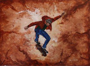 Rollicking Life-By Neeraj Raina by Neeraj Raina, Expressionism Painting, Acrylic on Board, Brown color
