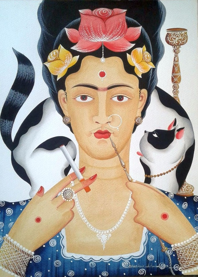 Kali Kahlo With Hookah And Cat By Bhaskar Chitrakar