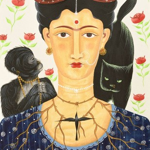 Kali-Kahlo with cat, monkey and hummingbird by Bhaskar Chitrakar, Folk Painting, Natural colours on paper, Beige color