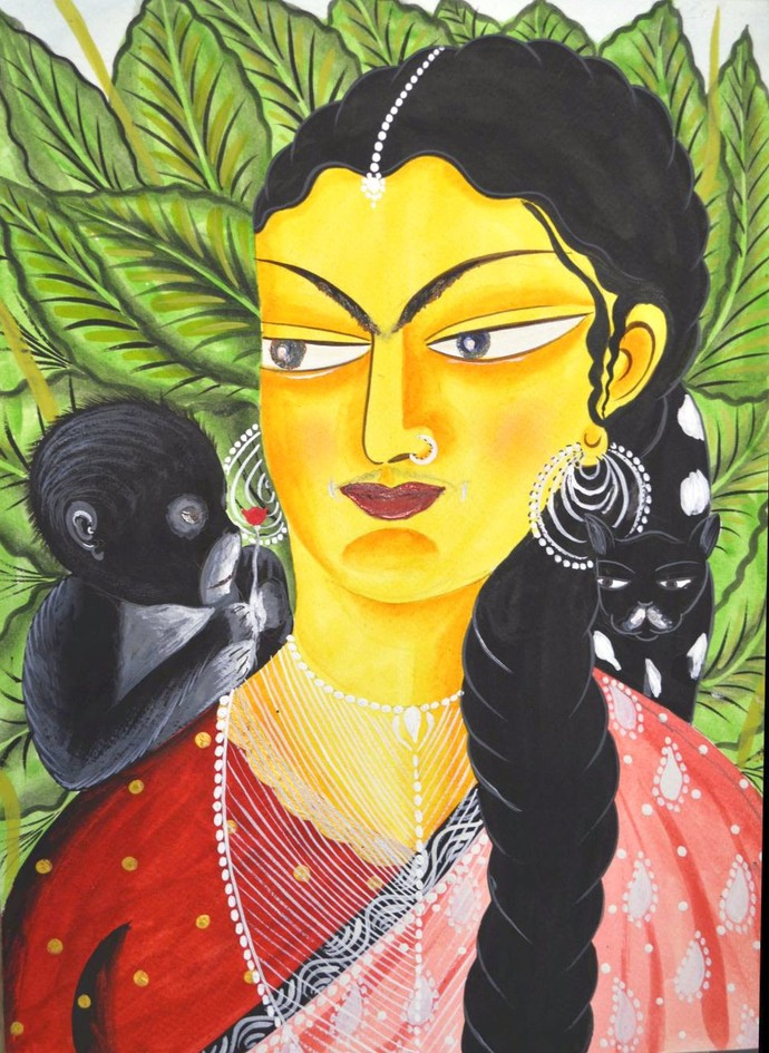 Kali-KAhlo with cat and monkey by Bhaskar Chitrakar, Folk Painting, Natural colours on paper, Green color