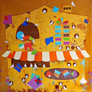 My Dream Home by shiv kumar soni, Expressionism Painting, Acrylic on Canvas, Brown color