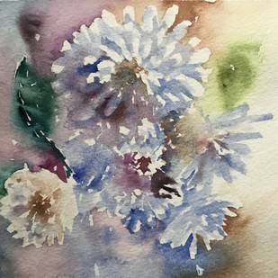 Watercolor artwork - mini painting florals by Nahid Aamina Sowkath, Impressionism Painting, Watercolor on Paper, Beige color