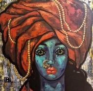 Girl in a turban II by Suruchi Jamkar, Expressionism Painting, Acrylic on Canvas, Brown color