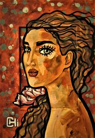 Girl with a flower II by Suruchi Jamkar, Expressionism Painting, Watercolor & Ink on Paper, Brown color