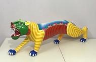 TIGER by Thota Laxminarayana, Art Deco Sculpture | 3D, Wood, Beige color