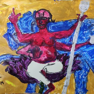 Brihaspati or Jupiter by Rabraj Saimy, Expressionism Painting, Acrylic on Paper, Blue color