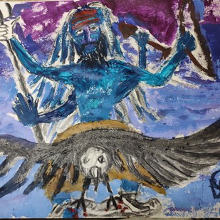 Shani or Saturn by Rabraj Saimy, Expressionism Painting, Acrylic on Paper, Blue color