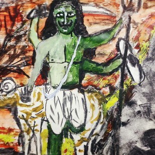 Mangal or Mars by Rabraj Saimy, Expressionism Painting, Acrylic on Paper, Brown color